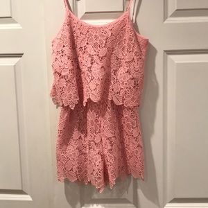Francesca's Pink Lace Romper